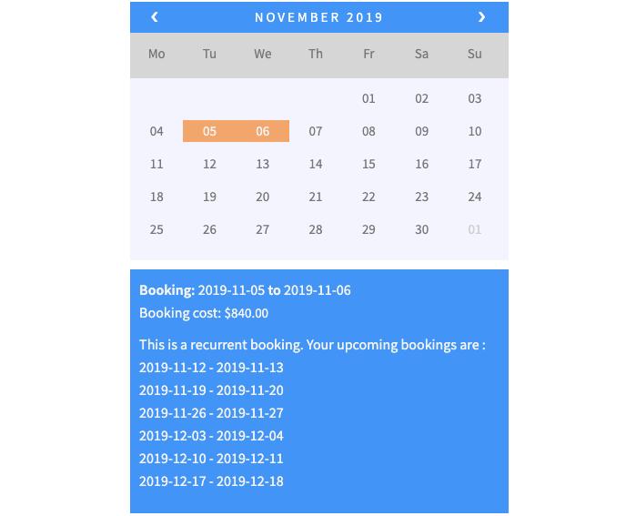 weekly recurring bookings