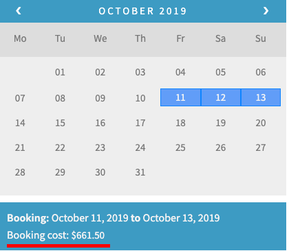 woocommerce bookings calendar with discount applied