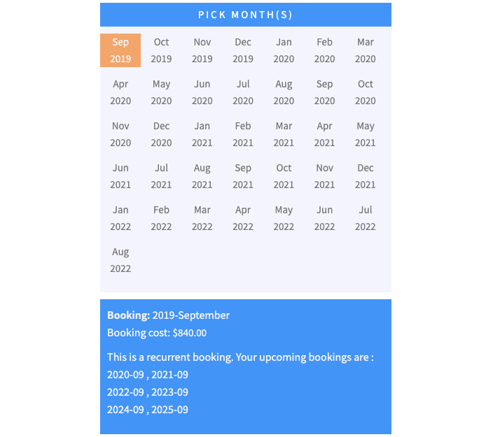 yearly recurring bookings