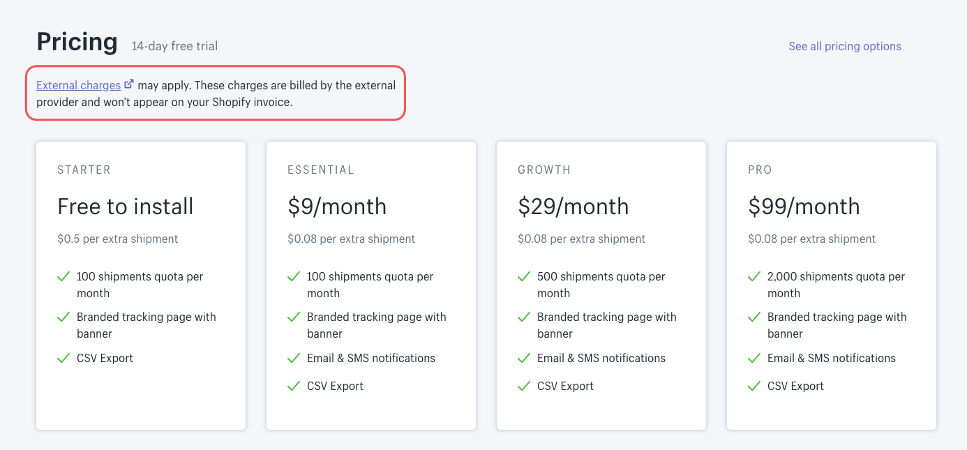 Aftership shopify charges