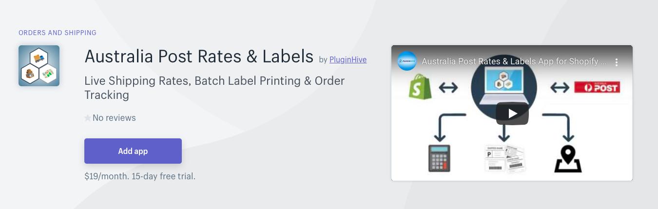 Shopify Australia Post Rates Labels