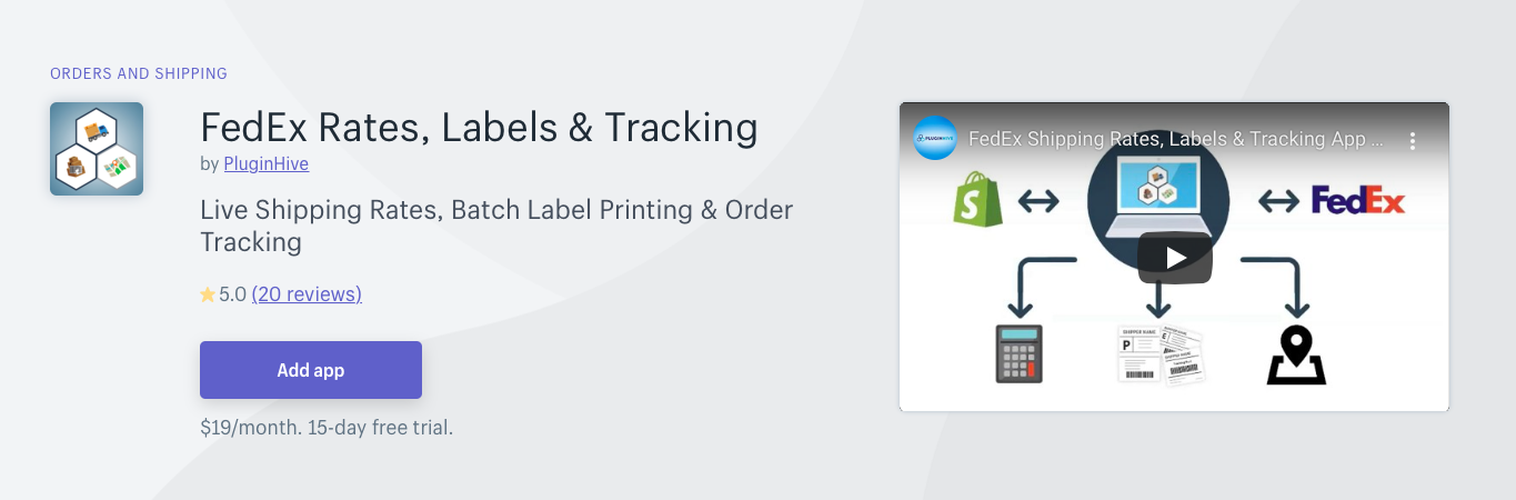 Shopify FedEx Rates Labels Tracking