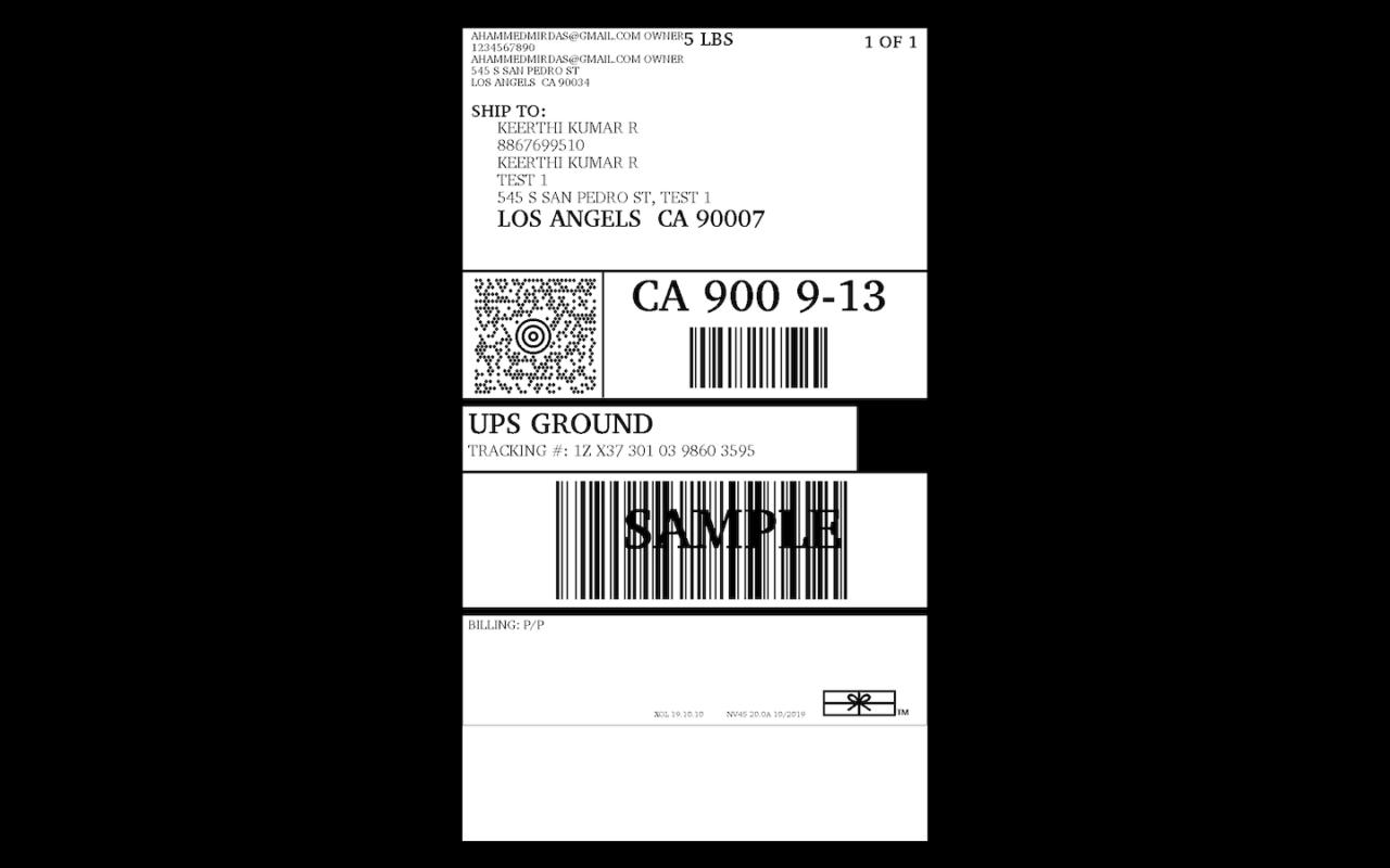 Forward UPS shipping label