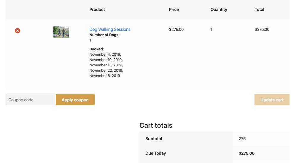 Random Bookings on cart page