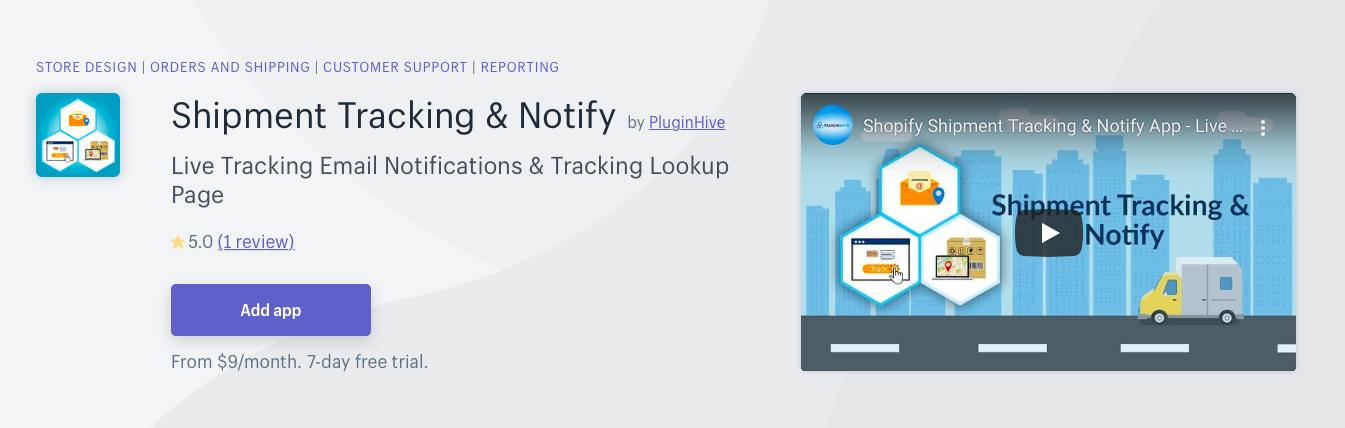 Shopify Shipment Tracking Notify
