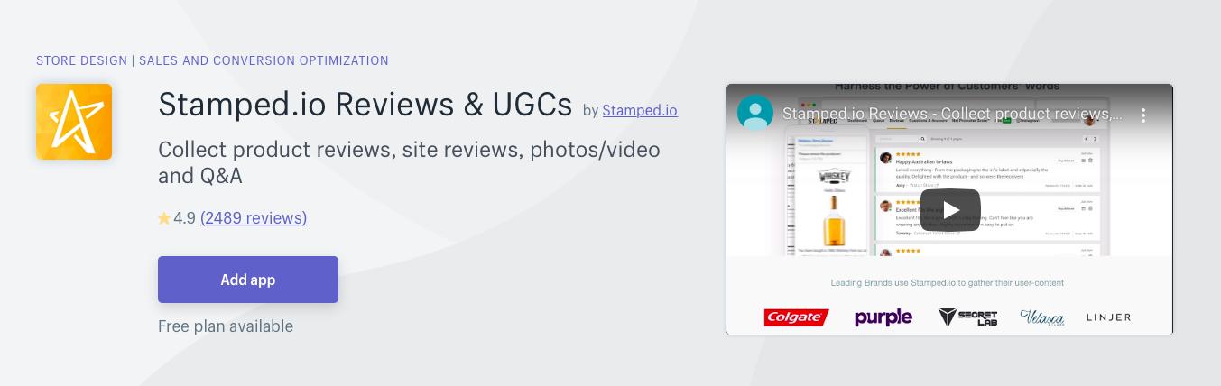 Stamped.io Reviews UGCs