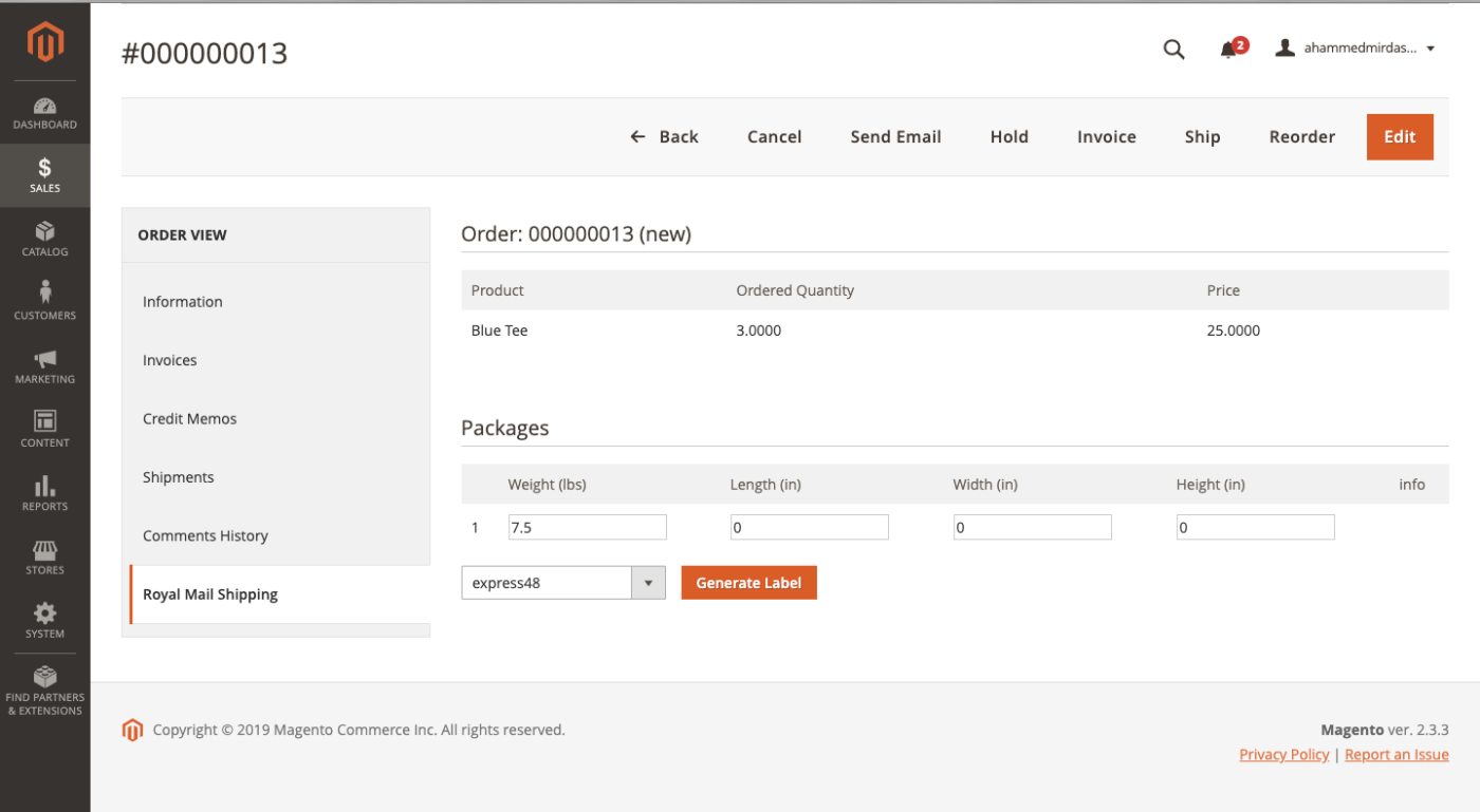 packages generated for parcelforce