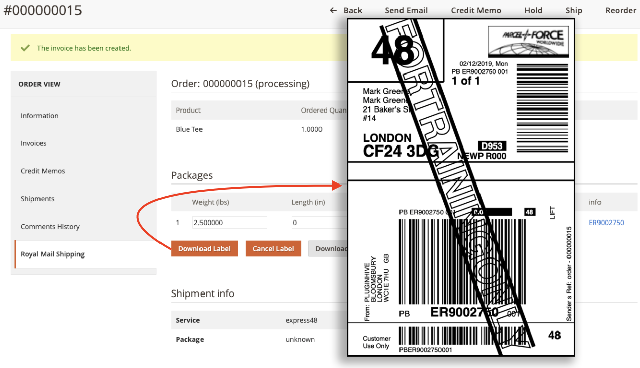 Magento Parcelforce Worldwide labels generated from magento orders page