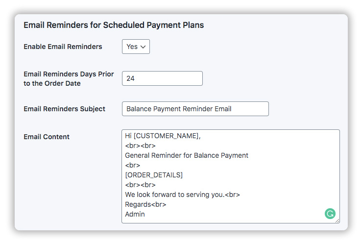 customize email reminders for balance payment plans
