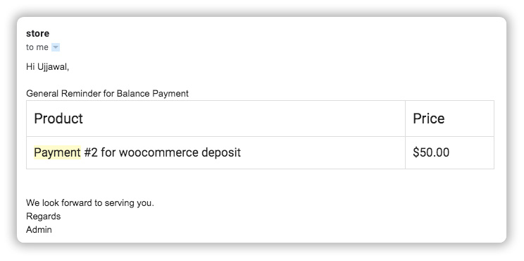 email reminder for balance payment plans