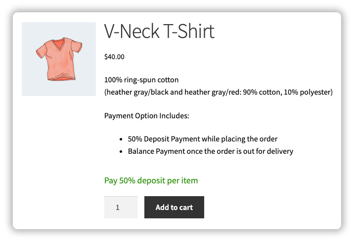 force deposit payments for woocommerce products