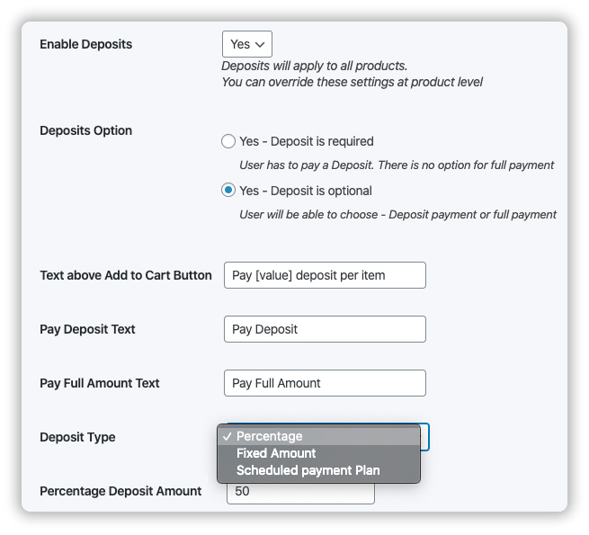 provide percentage or fixed deposit payment option
