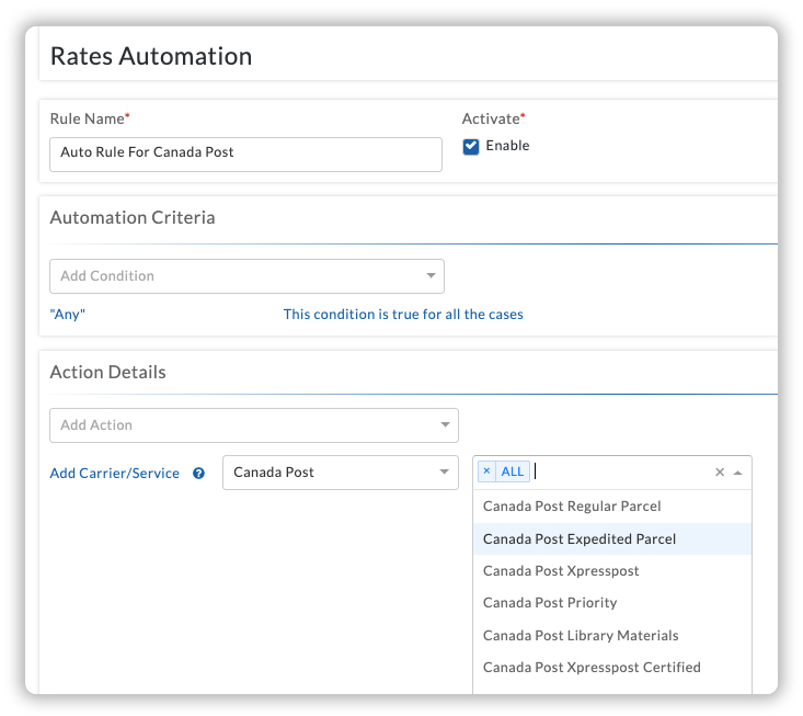 Canada Post Rates Automation Settings