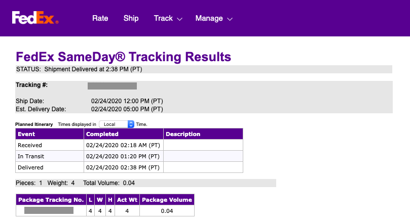 FedEx SameDay Order Tracking