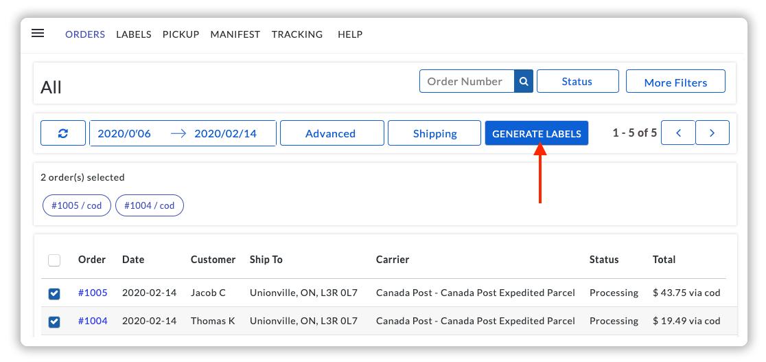 Generate Canada Post Labels