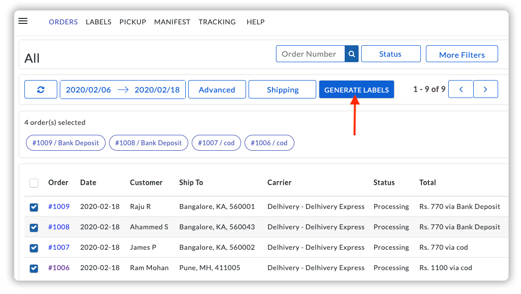 Generate Delhivery Shipping Labels