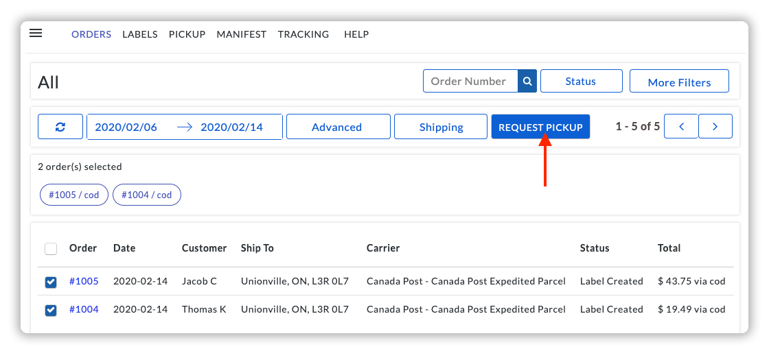 Request Pickup for Canada Post Orders