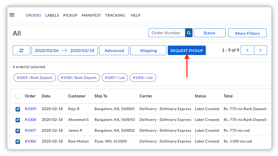 Request Pickup for Delhivery Orders