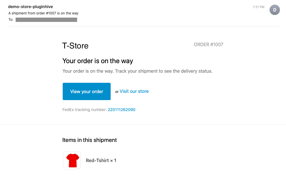 Shopify Order Shipped Email