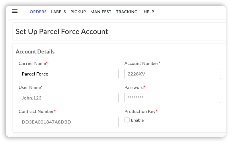 Set Up Parcelforce Account
