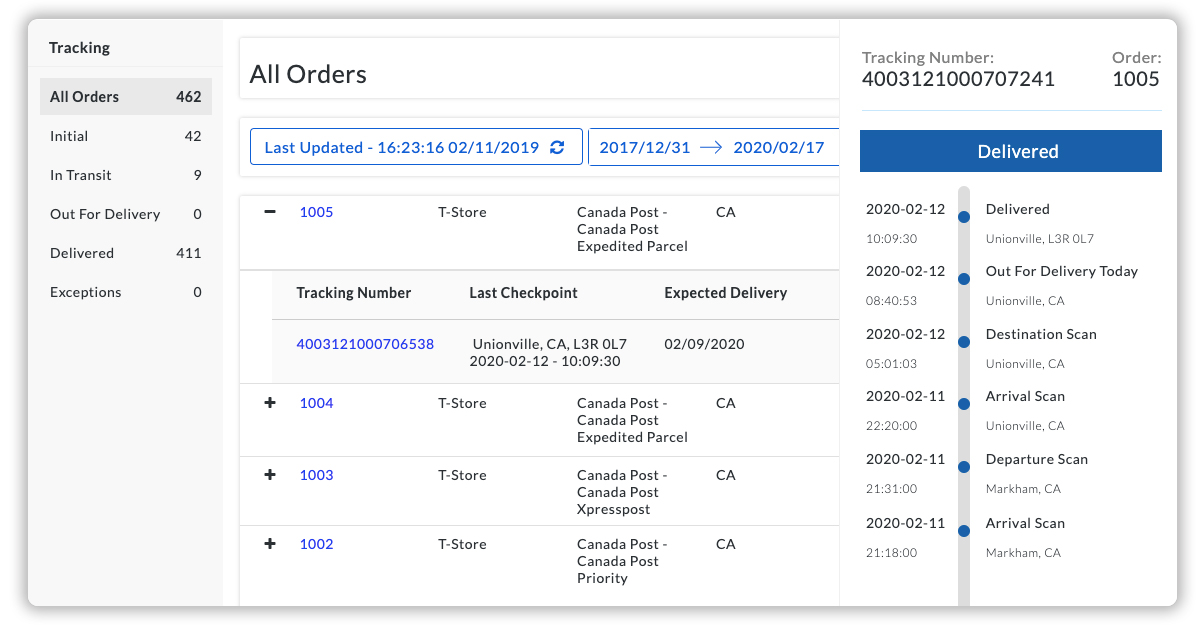 Shopify Canada Post Tracking