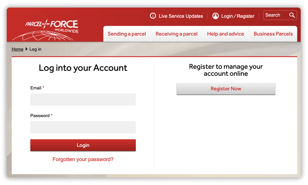 Sign Up for Parcelforce account