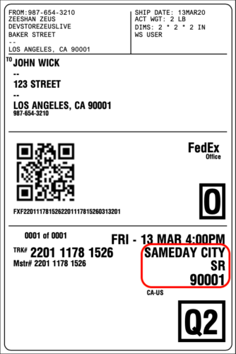 FedEx SameDay City Label