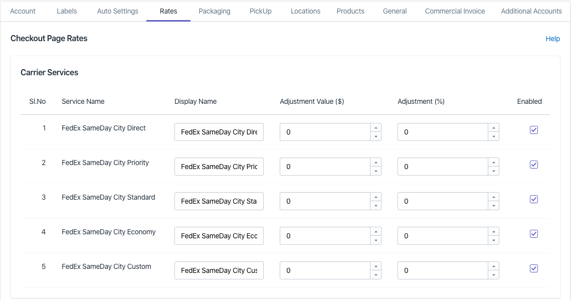FedEx SameDay City Rates Settings