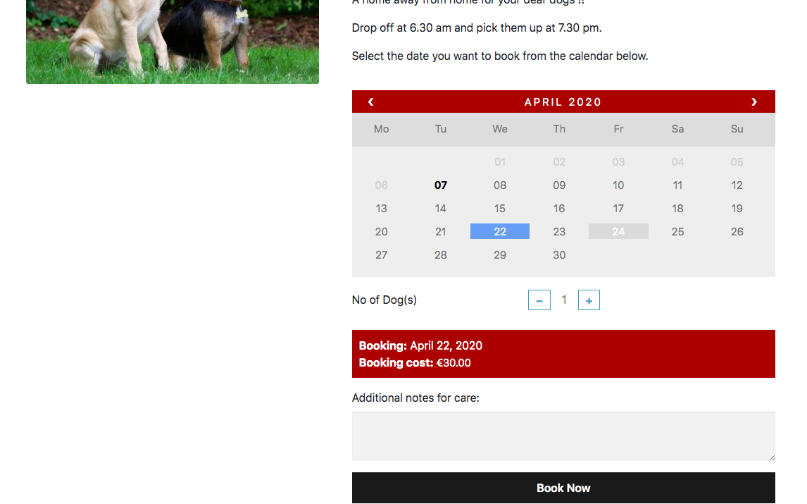 Select booking dates on woocommerce shop page