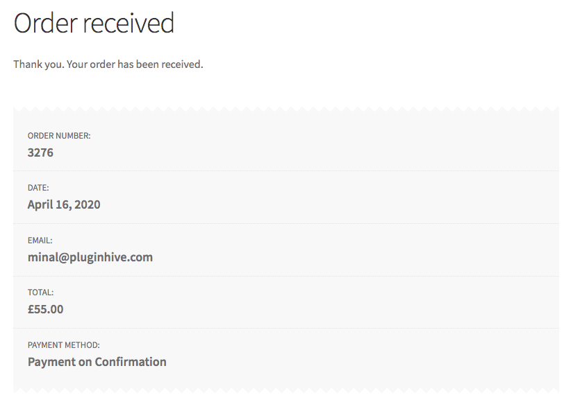 woocommerce order received successfully