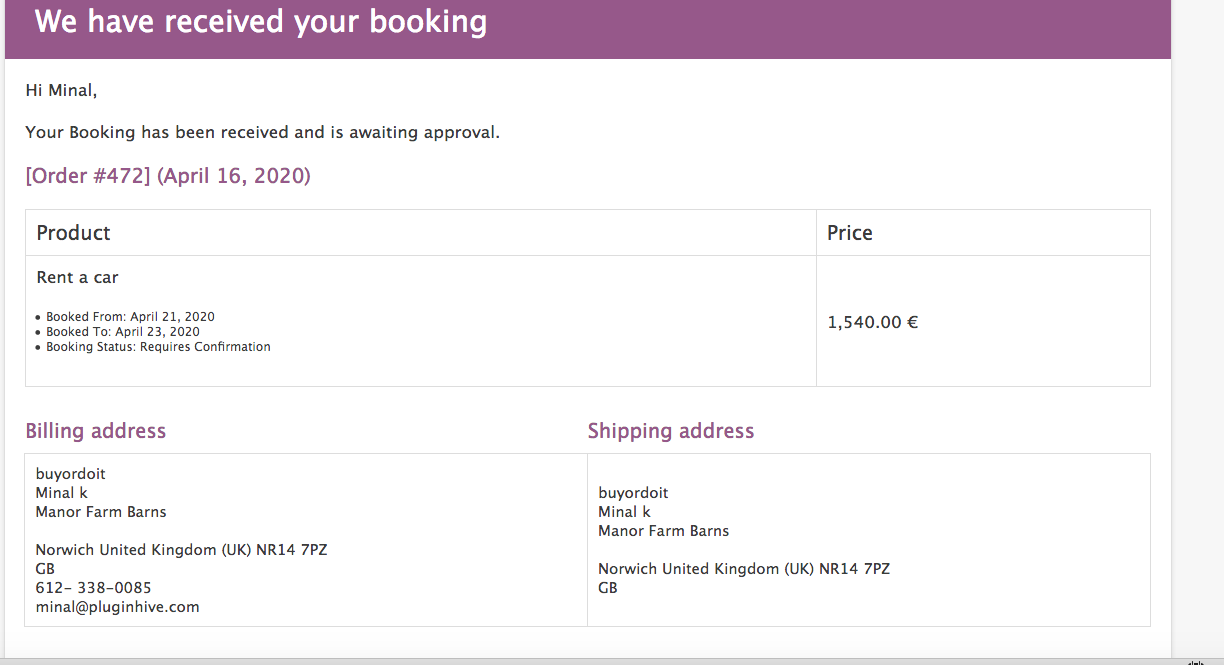woocommerce bookings email with bookings details