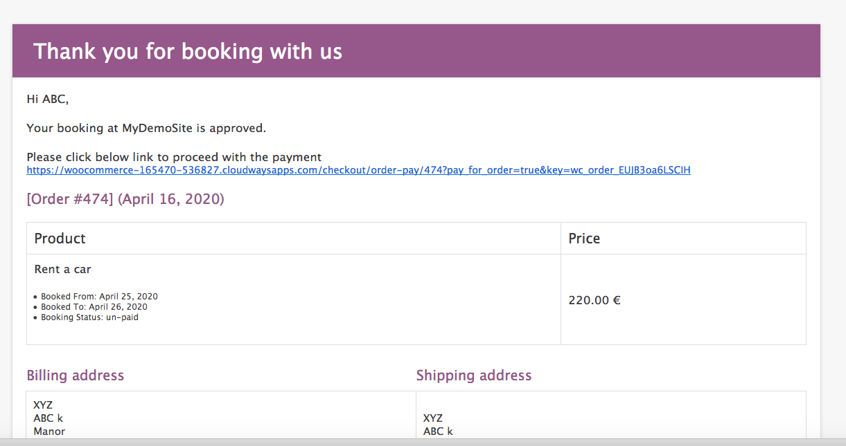 woocommerce bookings payment link in the email