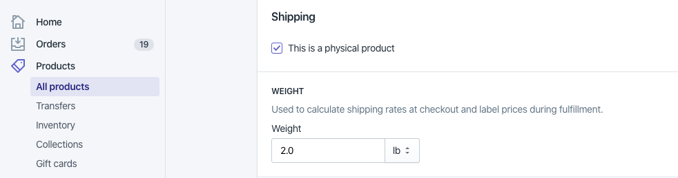 Configure product weight