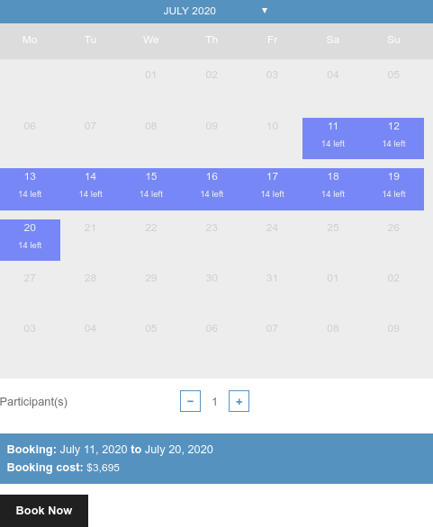 booking calendar with pre-selected dates