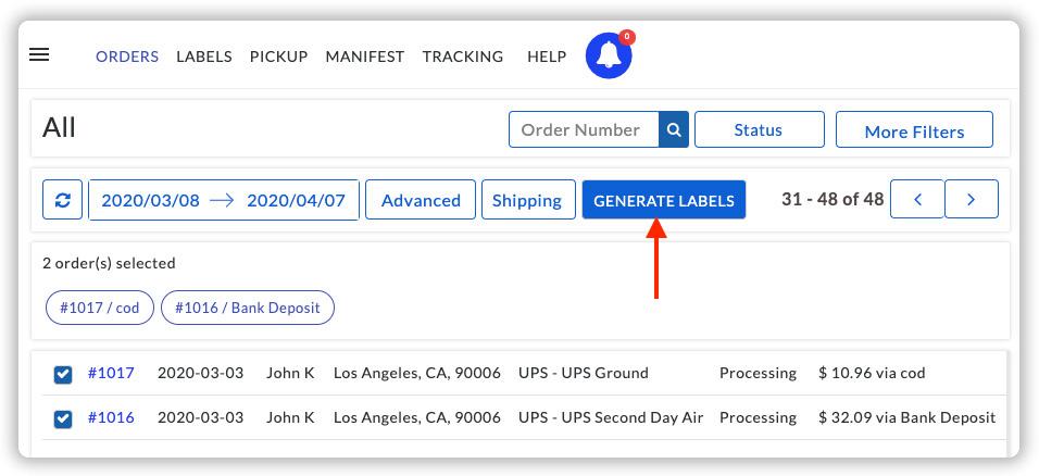 Generate UPS Labels