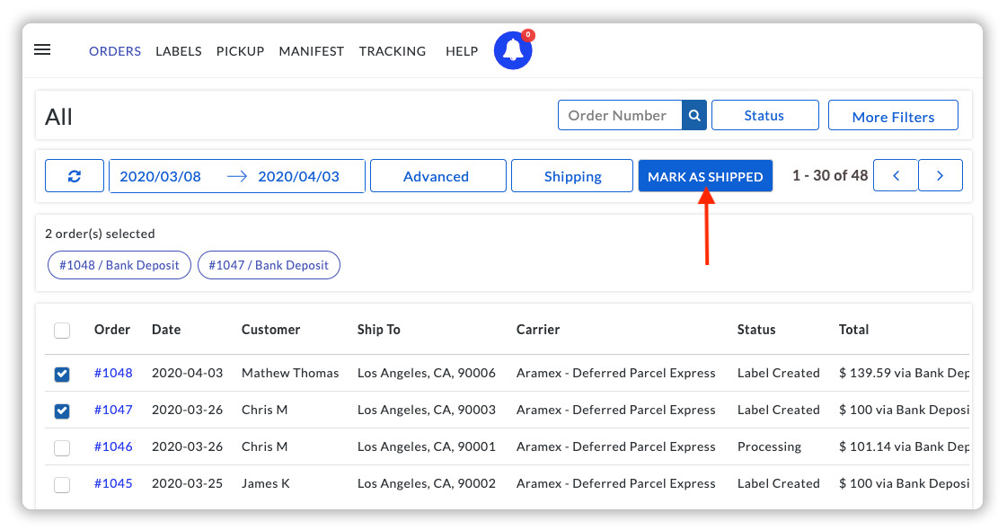 Mark the Aramex orders as Shipped