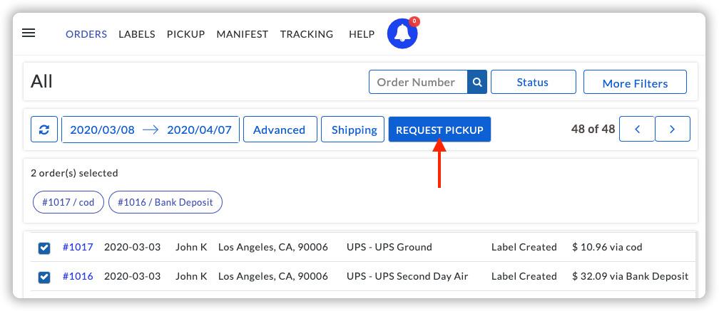 Request UPS Pickup