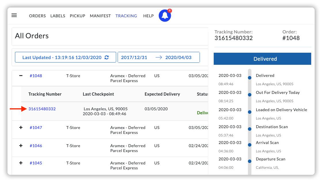 Shopify Aramex tracking dashboard
