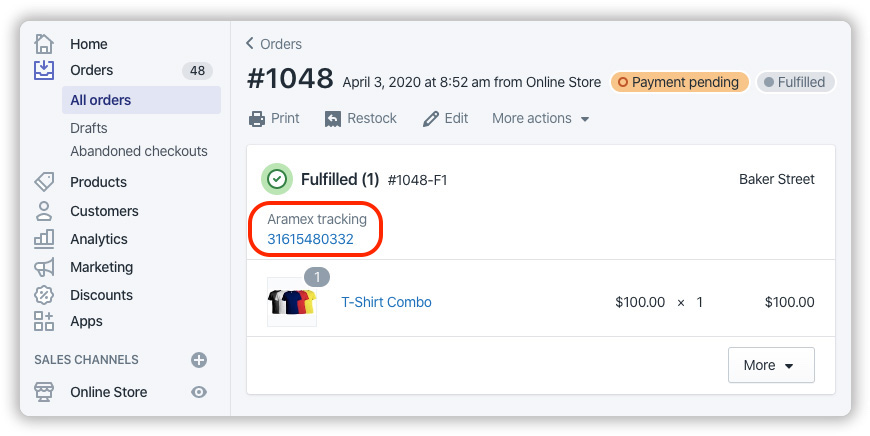 Handle Shopify Aramex Tracking