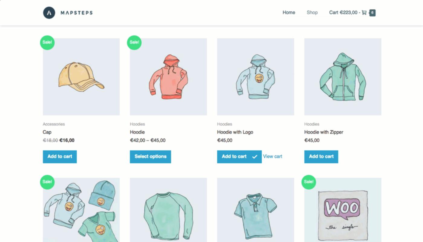 page builder framework shop page