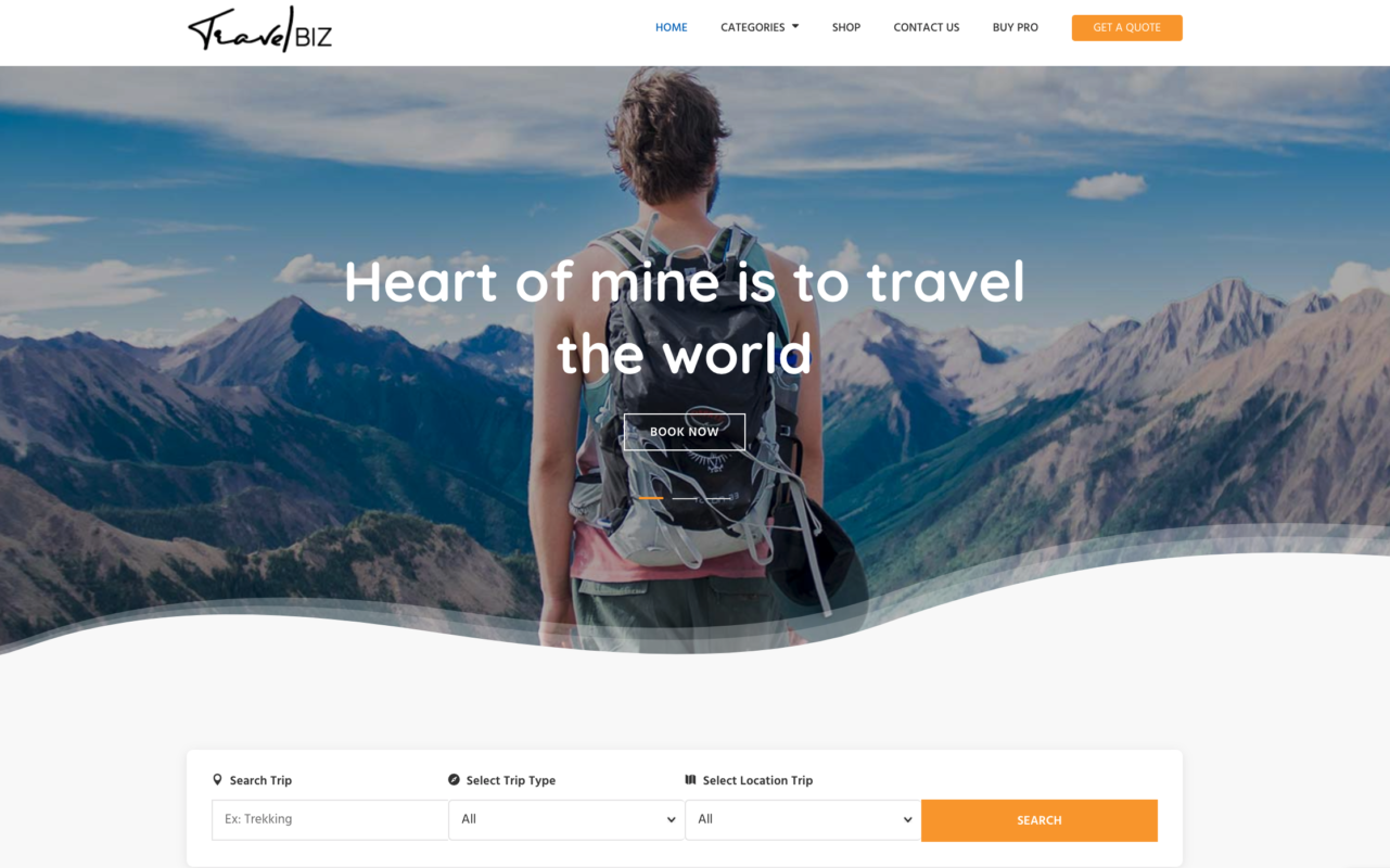 travelbiz wordpress home page
