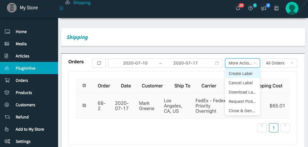 create shipping labels from vendor dashboard