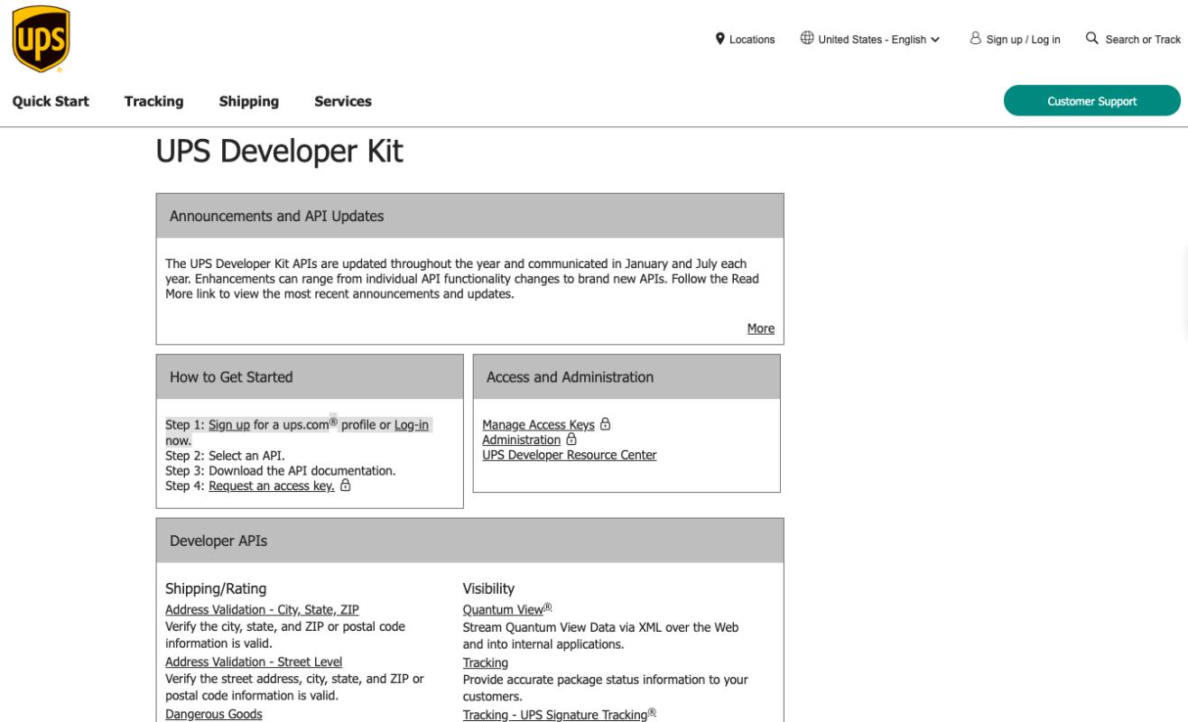 Login to UPS Developer Kit