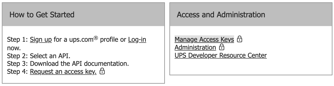 request UPS production keys