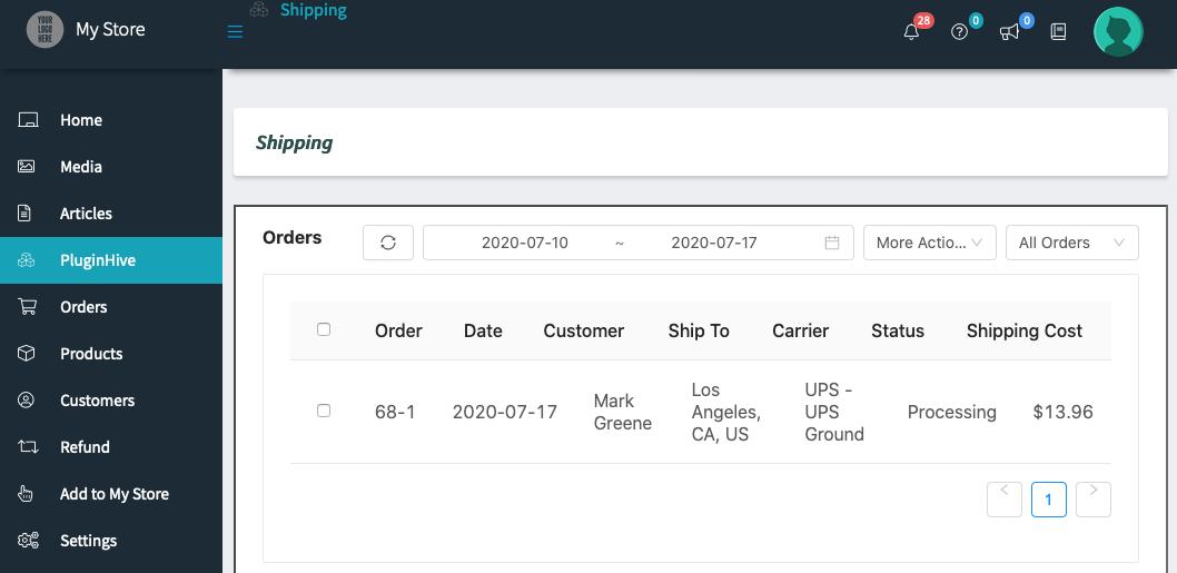 vendor b orders in vendor dashboard