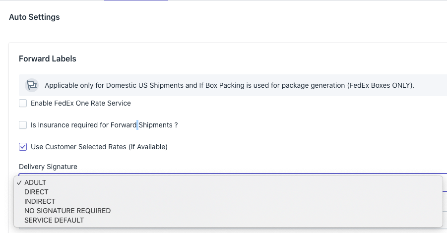 delivery signature general settings