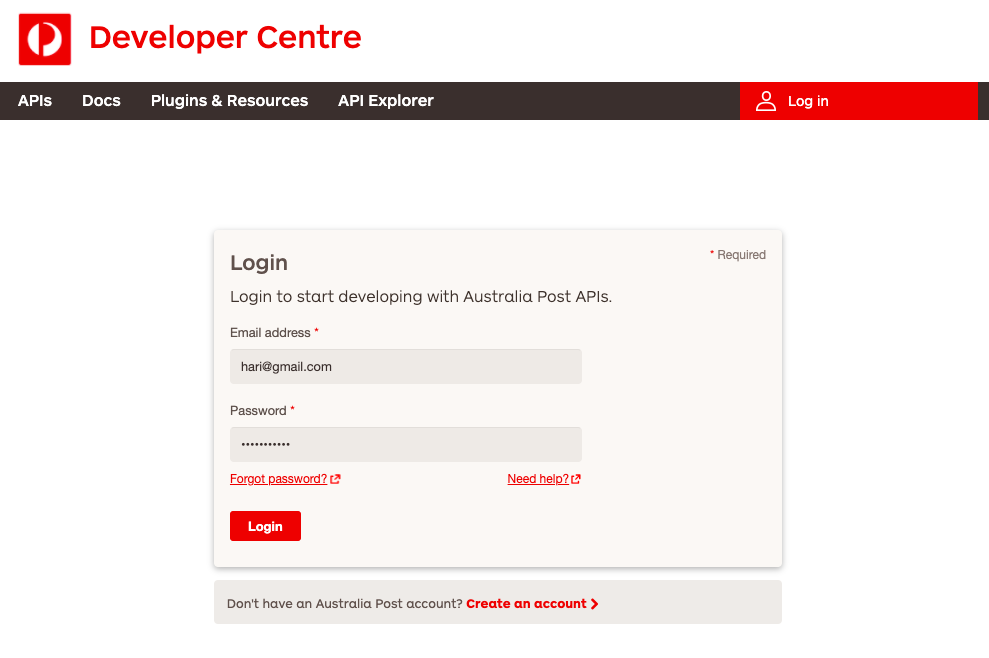 Login to the Australia Post developers centre