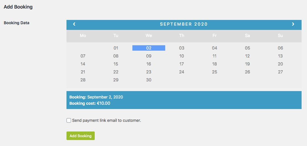 adding booking from the WooCommerce dashboard