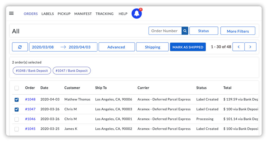 aramex orders mark as shipped