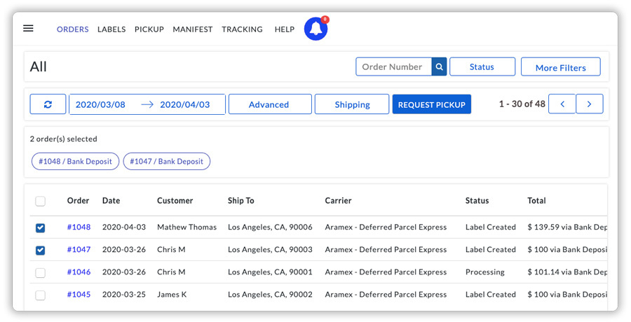 aramex orders request pickups